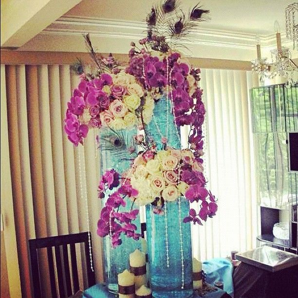 #peacock #rose #orchid #purple #blue #pearls #wedding #centerpiece #flowers by #avantgardenevents - @avant_garden | Webstagram