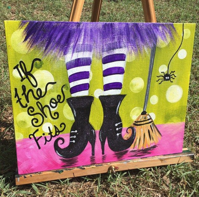 How To Paint Witch Shoes is part of Fall canvas painting, Witch painting, Halloween painting, Halloween canvas paintings, Painting, Canvas painting - It's time to get crafty with this Halloween canvas painting! In this tutorial you will learn how to paint Witch Shoes, Witch Boots, Witch Feet or whatever you'd like to call them! You will also find in this tutorial a free printable that you can trace onto your canvas      Read moreHow To Paint Witch Shoes
