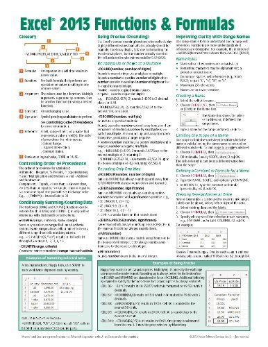 Microsoft Excel 2013 Functions  Formulas Quick Reference Card (4