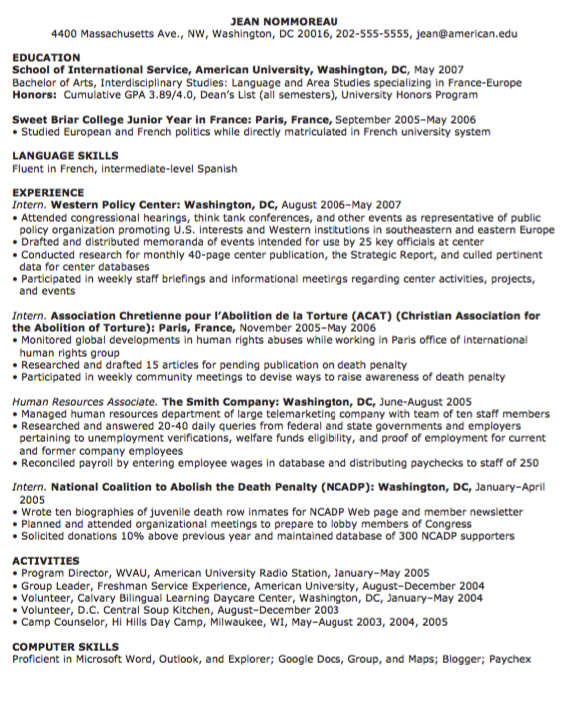 Example Human Resources Resume