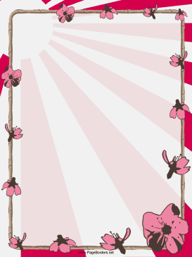 Pink flowers and bamboo decorate this free printable Chinese