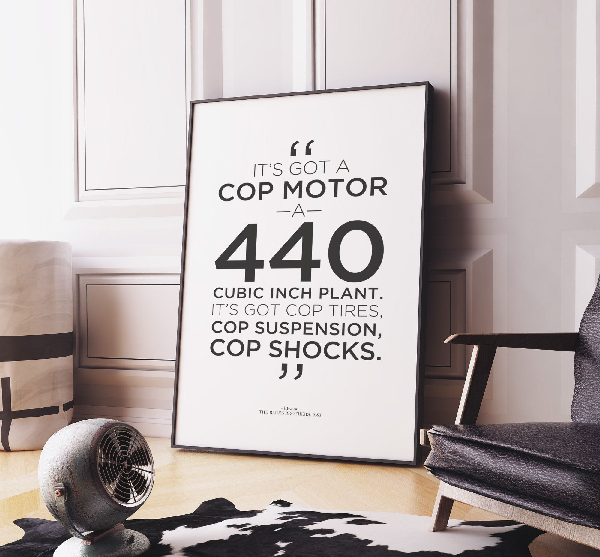 Blues brothers movie quote poster cop motor 440 cubic