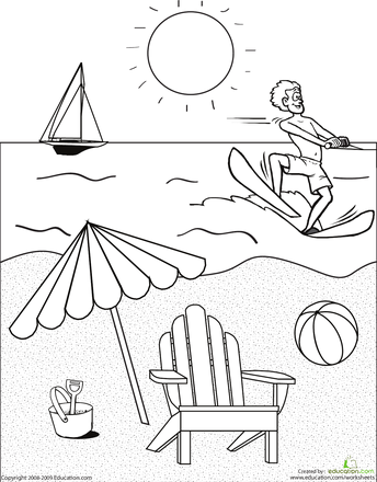 beach scene free coloring pages