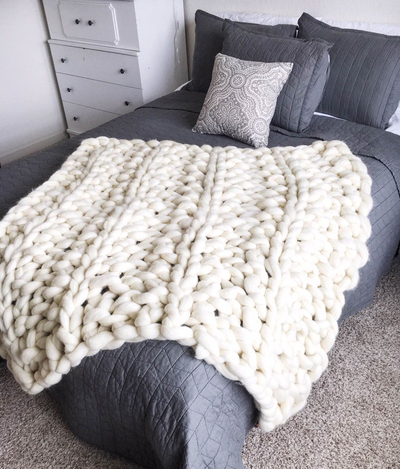 Knitting A Chunky Blanket : Giant chunky arm knit blanket by creationsbykaitlan on
