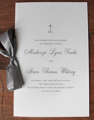 Custom wedding program printed on Reich Savoy natural white stock. Slate ribbon, double-faced satin. Peachtree Road United Methodist Church, Atlanta wedding.