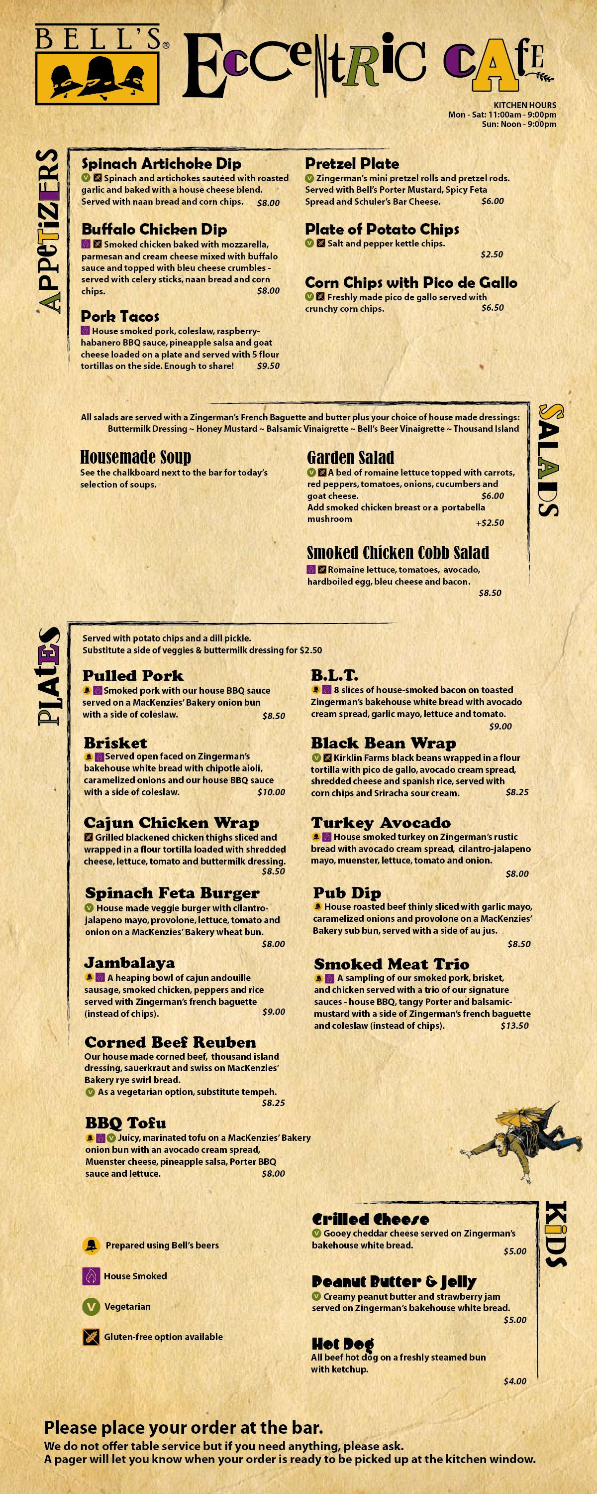 In addition to gluten free vegetarian and house smoked items the eccentric cafe menu also features dishes made with our beer