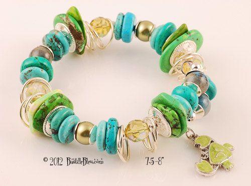 $45  Sea Siren Memory Wire Bangle/Cuff - Handmade lampwork art beads, jewelry & supplies by Bastille Bleu Lampwork. $45.00, via Etsy.