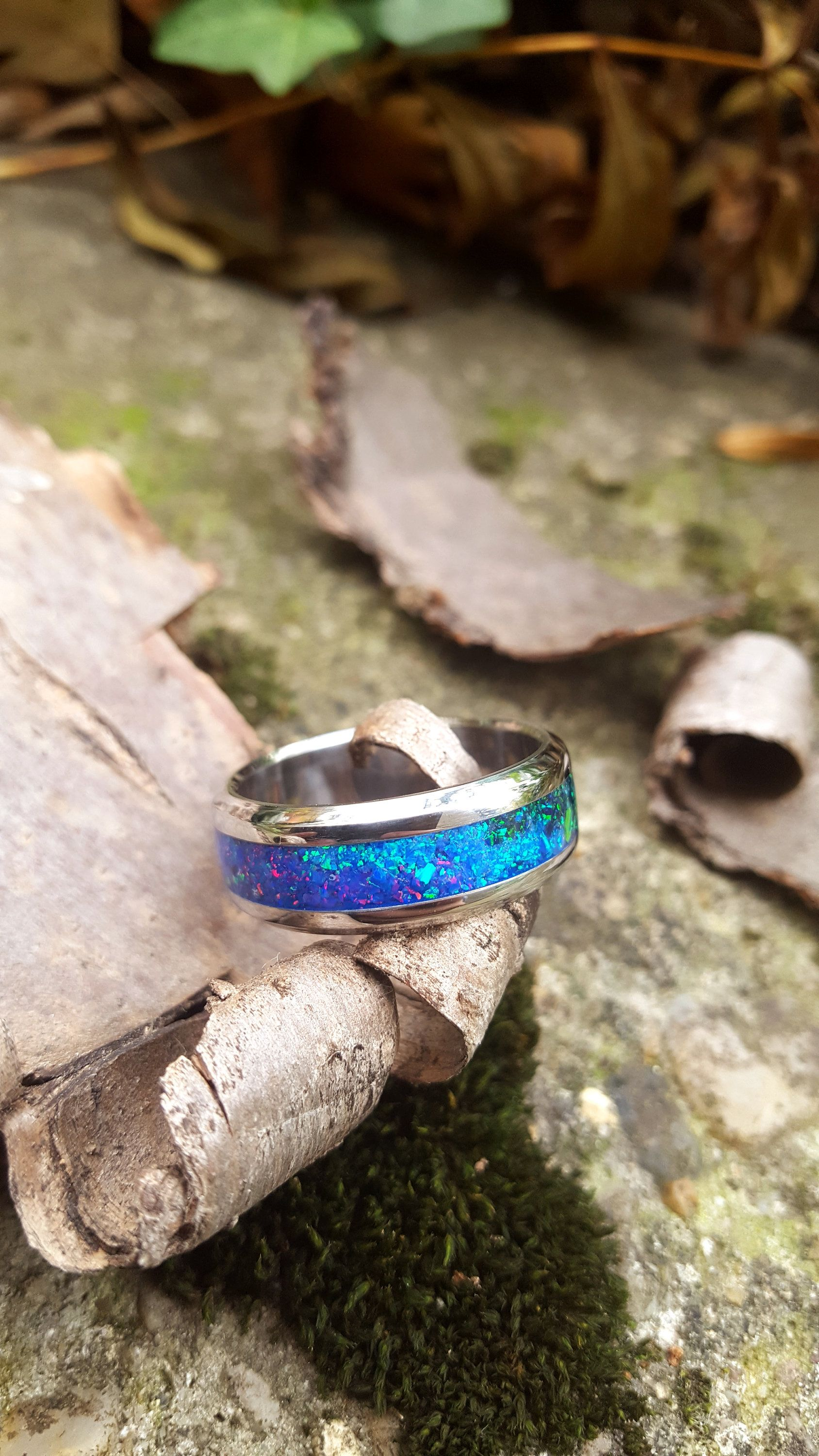 8185596d00 Wedding Ring, Stainless Steel Ring with Crushed Four Colored Opals ...