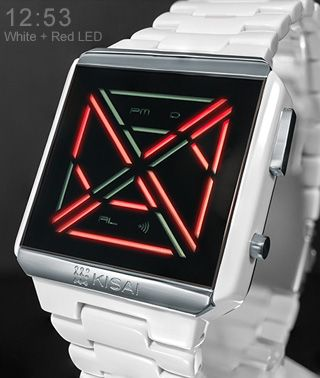 Futuristic LED Watch Design with Time, Date, Alarm & Animations. Kisai X Acetate.