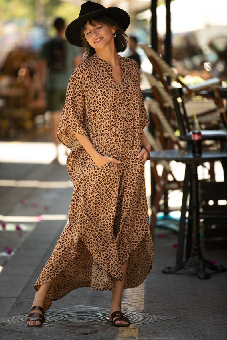 Leopard Print Oversize Kaftan Maxi Dress Boho Hipster Caftan Summer Urban Vacation Dress Hipster Abaya Women S Dress Plus Size Dress Caftan Dress Maxi Dress Kaftan Maxi Dress [ 1191 x 794 Pixel ]
