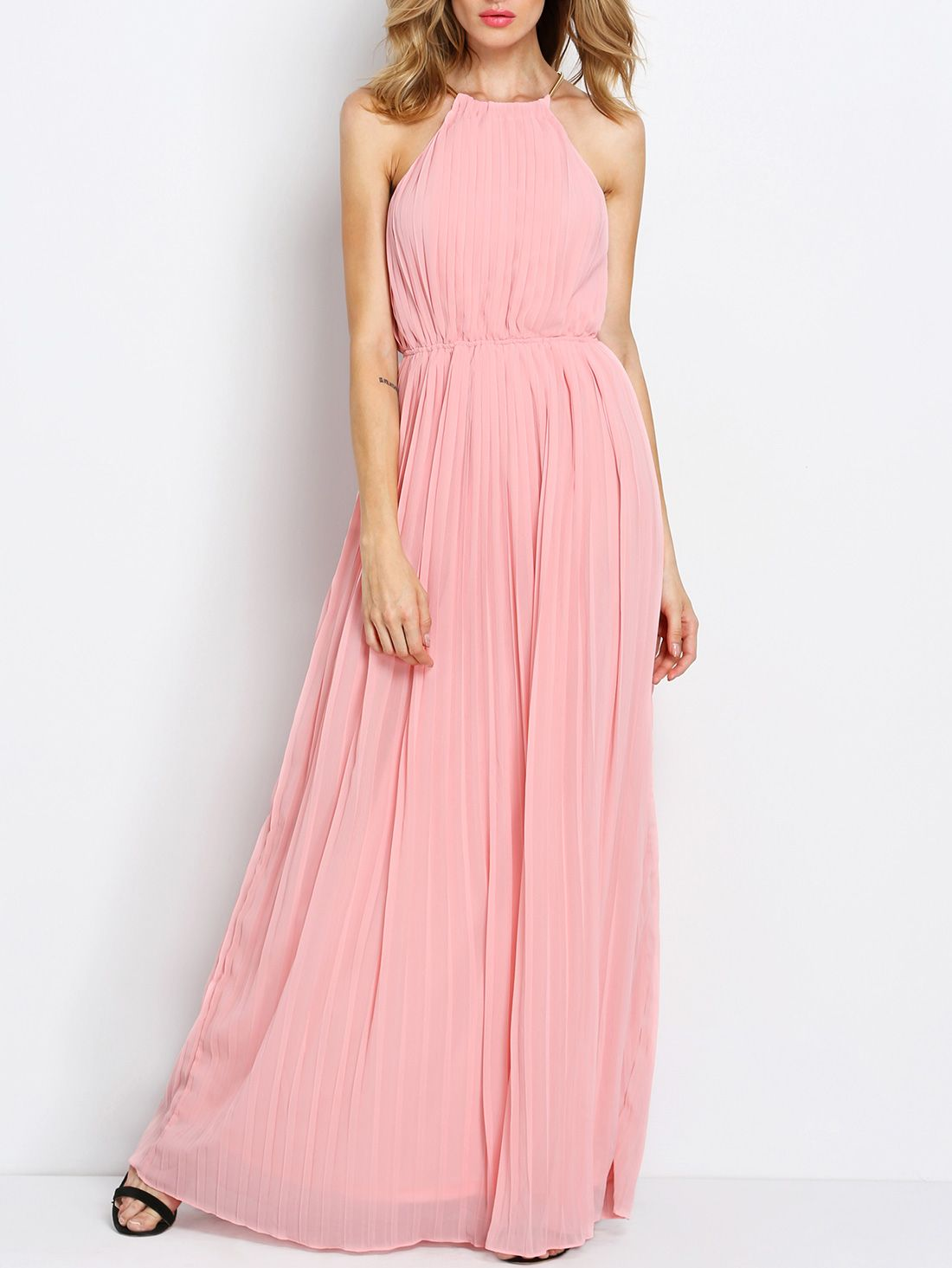 Pink Sleeveless Halter Pleated Maxi Dress | Pinterest | Verano ...