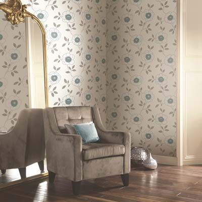 The Diva Floral Motif Wallpaper collection from Arthouse is contemporary floral design that would look very stylish in a living room or bedroom. The Diva wallpaper features a simple injection of colour, a bold and bright teal blue complements the grey trailing leaves. This wallcovering comes in a variety of colours at £9.99 per 10m roll at The Range.