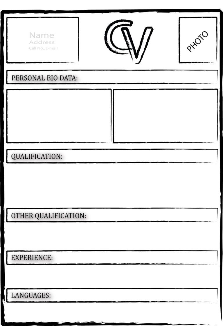 Empty cv template template in free blank cv template