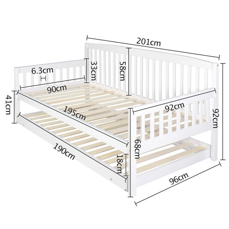 Wooden Sofa Day Bed Frame W Foldable Trundle White