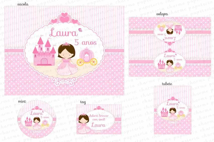 Kit Digital Princesa - Coroa #Realeza #Reino #Reinado #Carruagem #Coroa #Kit festa #personalizados #rosa
