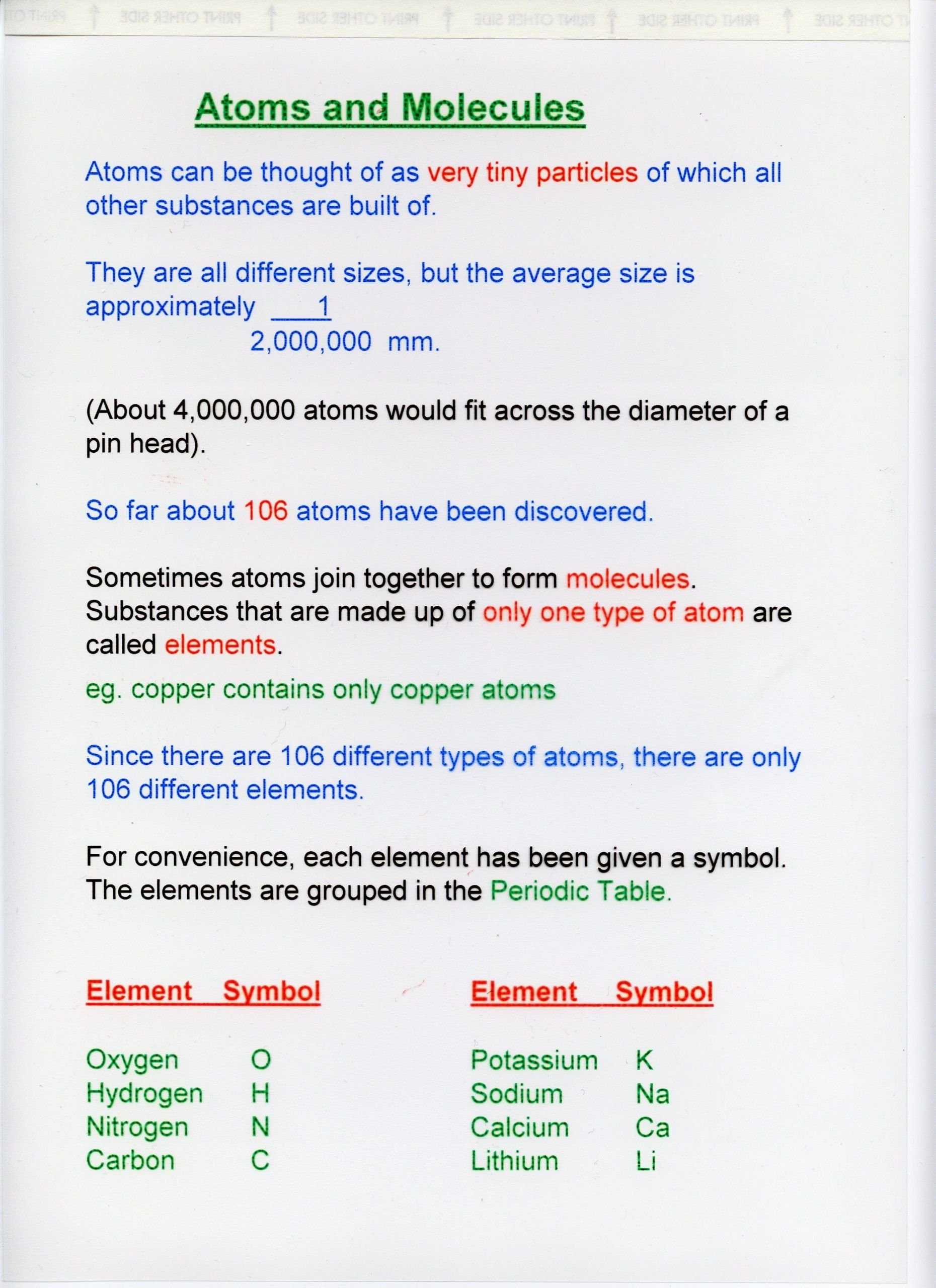Atoms And Elements Worksheet Atoms Elements Molecules