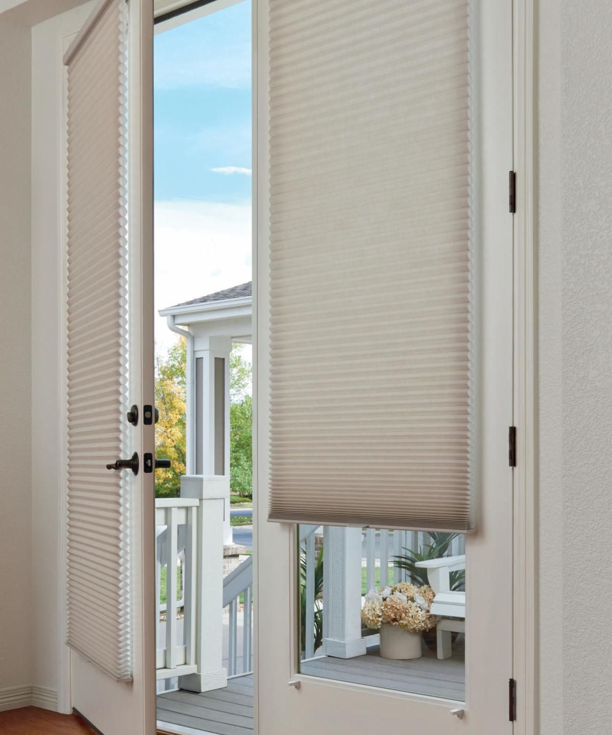 These Duette Honeycomb Shades In Birch Bark Are The Original Cellular Shades French Door Window Treatments Door Window Treatments Sliding Glass Door Window