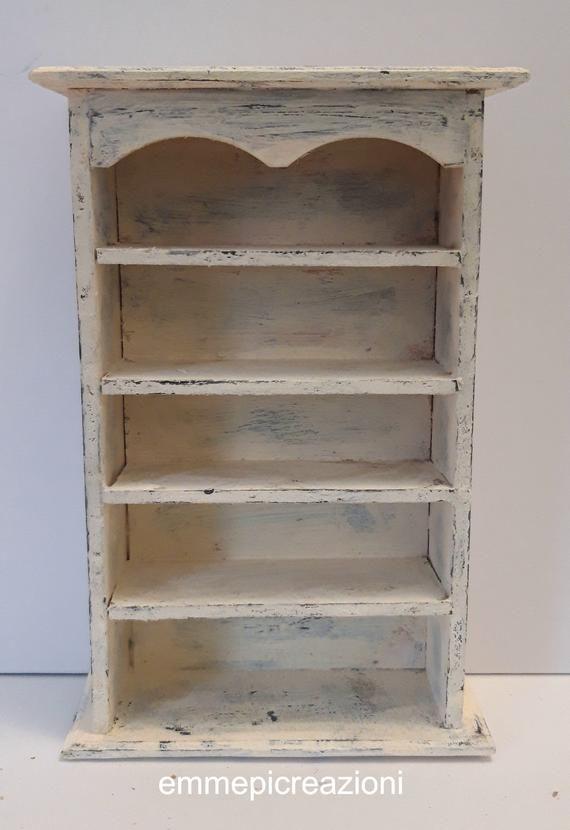 Tecnica Shabby Chic Su Legno.Bookshelf In Miniature Shabby Chic Technique Wood
