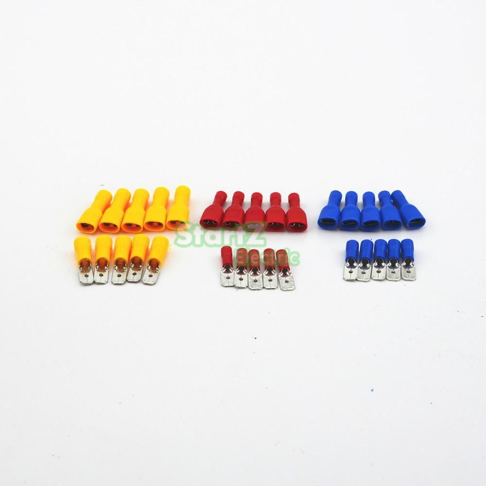 100 STÜCKE Isolierte 12-10 16-14 22-18AWG Spaten Male & Female Elektrische Crimpverbinder Kits