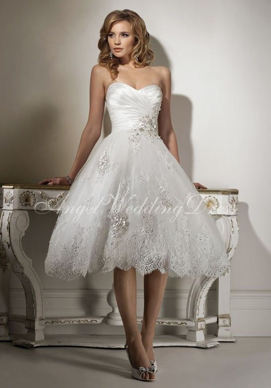 Satin Tulle A Line Sweetheart Tea Length Beading Lace Wedding