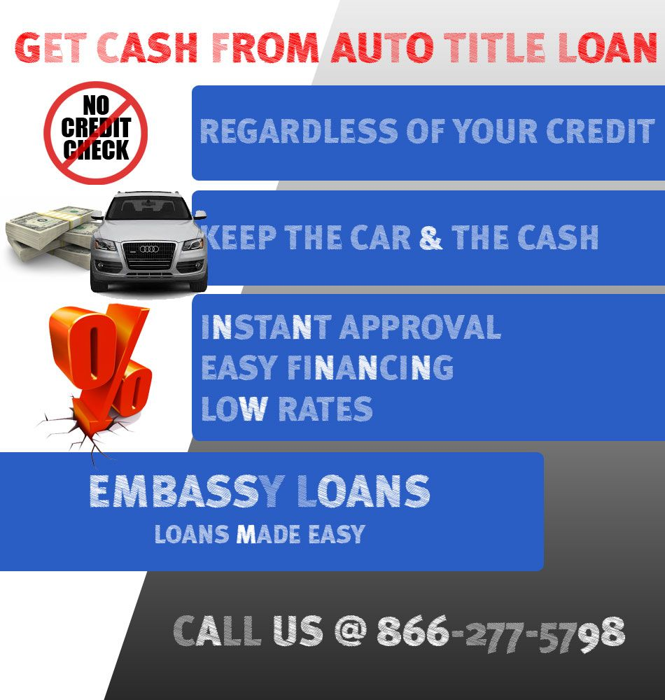 Embassy Loans makes getting your cash easy! To get a auto title loan all you need is a car title, & ID, usually with same day approval. We do not base loan approvals on your credit at Embassy Loans. What could be simpler?http://www.embassyloans.com/