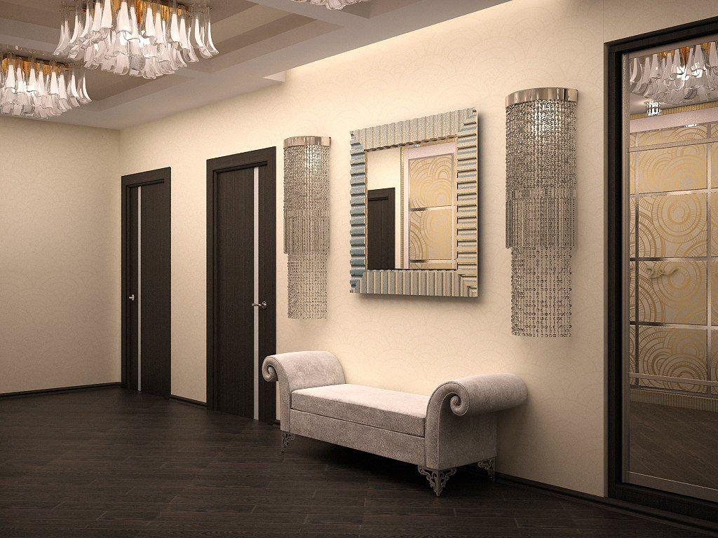 Art deco hallway lights  Interior of hallway in the art deco style  Art Deco rom bygninger