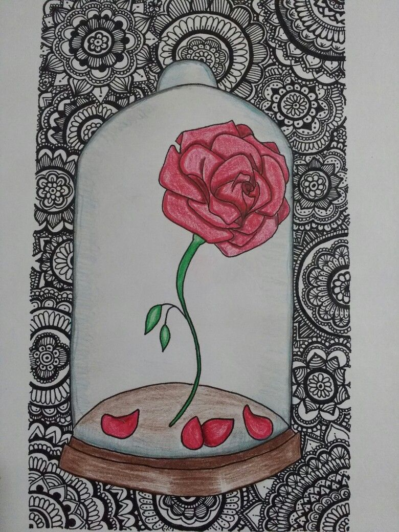The Beauty And The Beast Zentangle Mandalas Rose