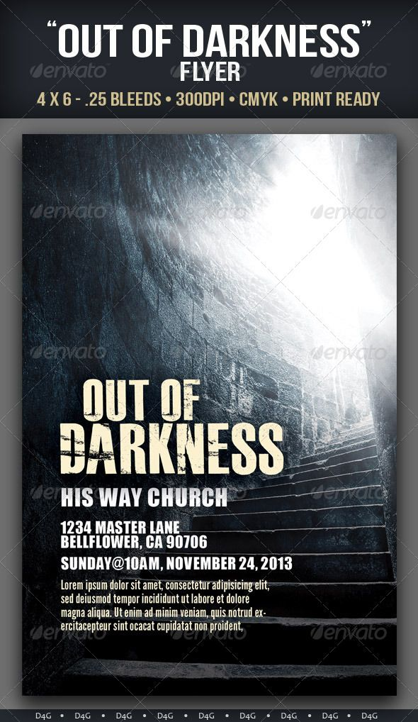 Out of Darkness Flyer Template. Can be used for Church Services and Events. The PSD file has group folders and layers named accordingly.