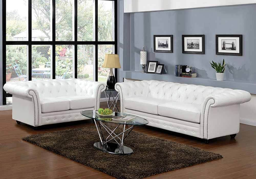 Camden Elegant Sofa Loveseat White Bonded Leather On Tufted Nailhead Trim
