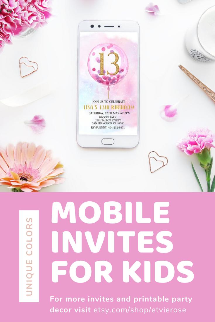 Go to Shop for mobile invites. #mobileinvitations #kidsparty #partydecor #birthdayinvitations