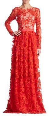 ML Monique Lhuillier Floral Lace Gown #formal #stunning in #red ...
