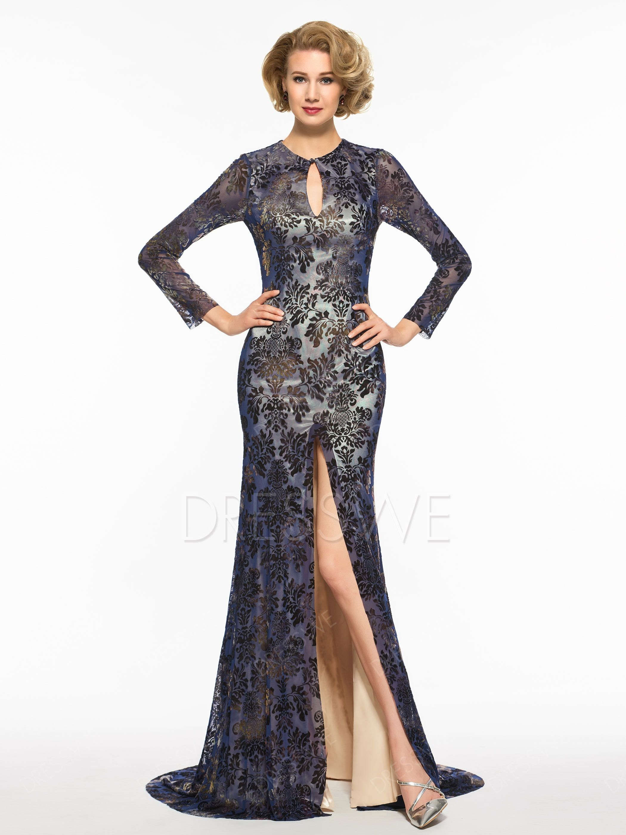00f85b2df5a3 Long Sleeves Backless Lace Mother of the Bride Dress|Embellishments:Button ,Split-Front