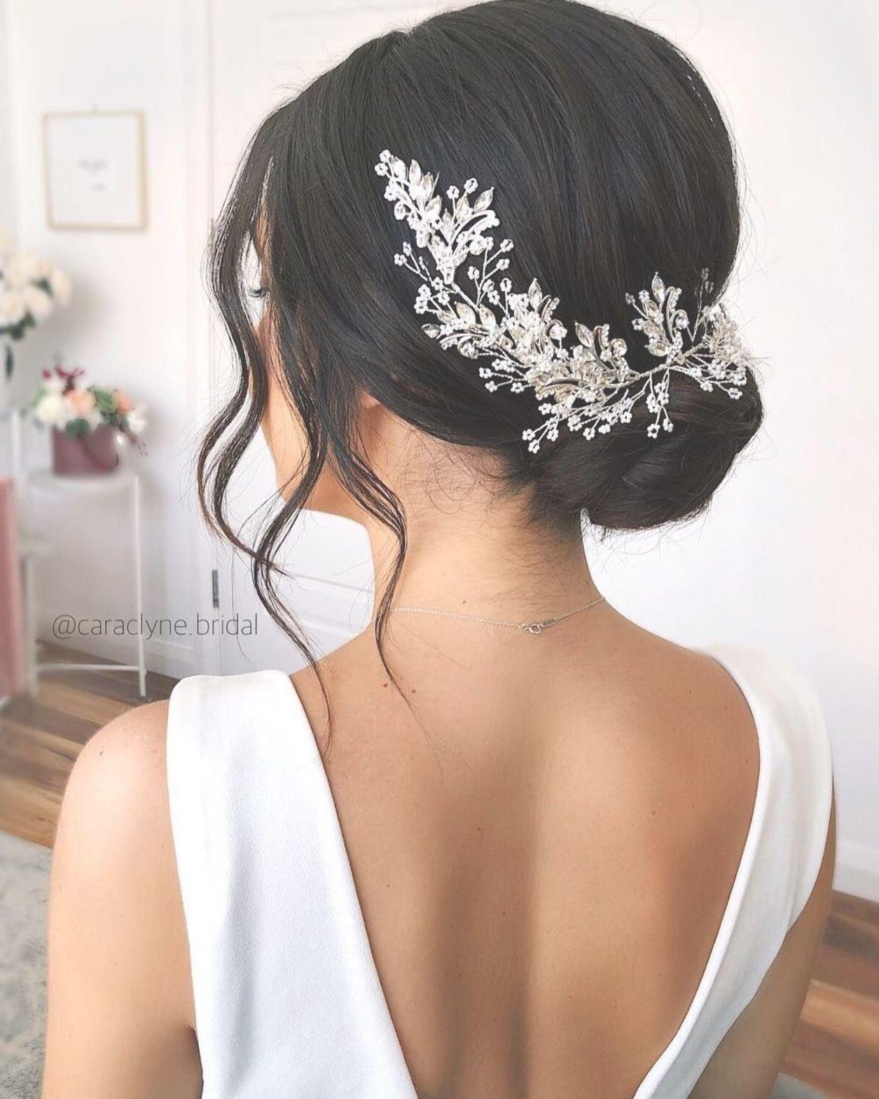 Sydney Wedding Hair Stylist On Instagram Beautiful Updo On Dark Hair Accessories Selena By Wedding Hairstyles Bride Bride Hairstyles Hair Vine Wedding