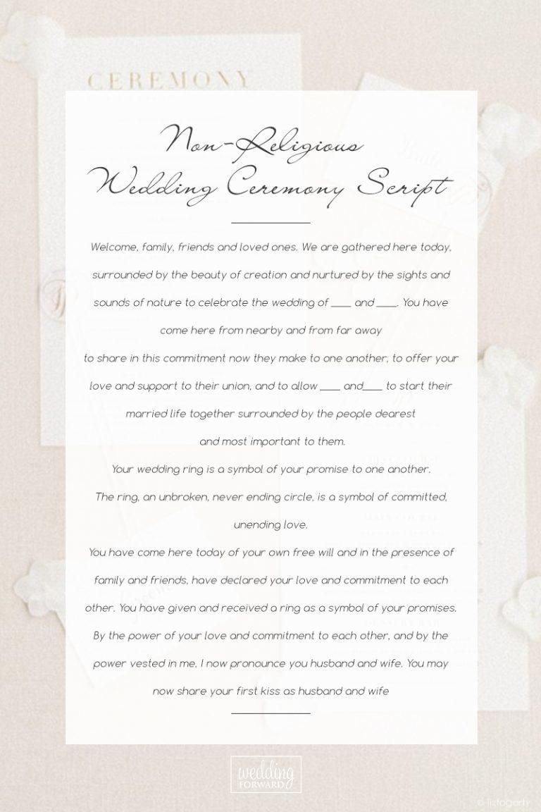 Wedding Ceremony Script Samples Non Religious