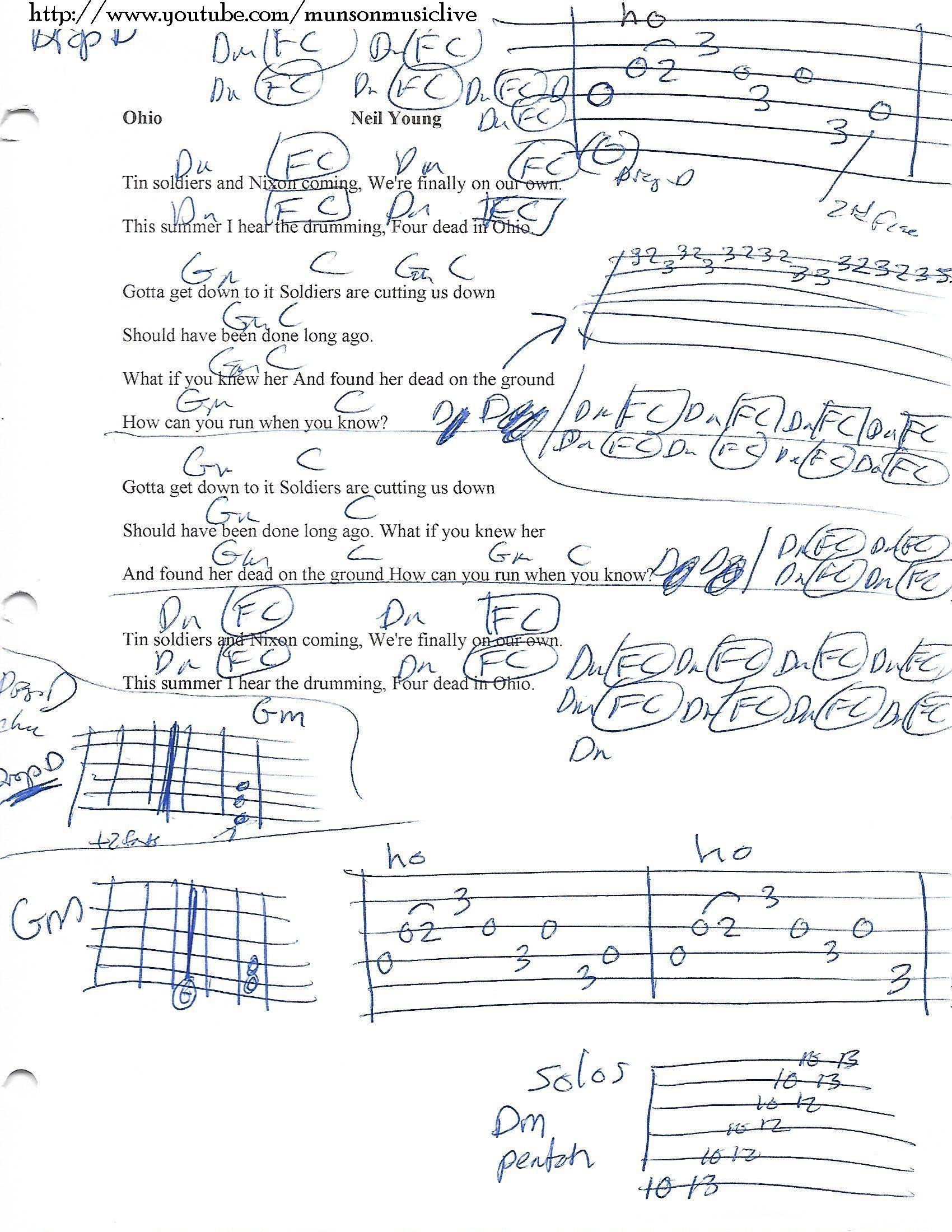 Ohio Neil Young Guitar Chord Chart Song Lyrics And Chords Guitar Lessons Songs Lyrics And Chords