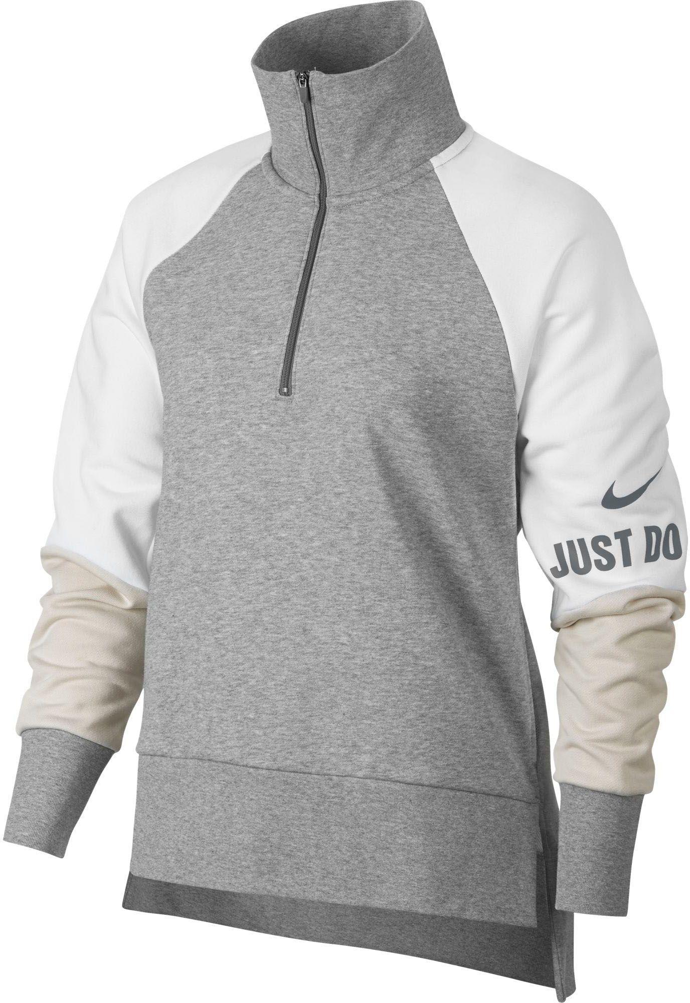 b69d8bbda4623 Nike Women's Dry Colorblock Endurance Half-Zip Training Pullover, Dk Grey  Heather/White