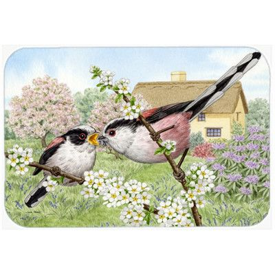 "Caroline's Treasures Long Tailed Birds Kitchen/Bath Mat Size: 20"" W x 30"" L"