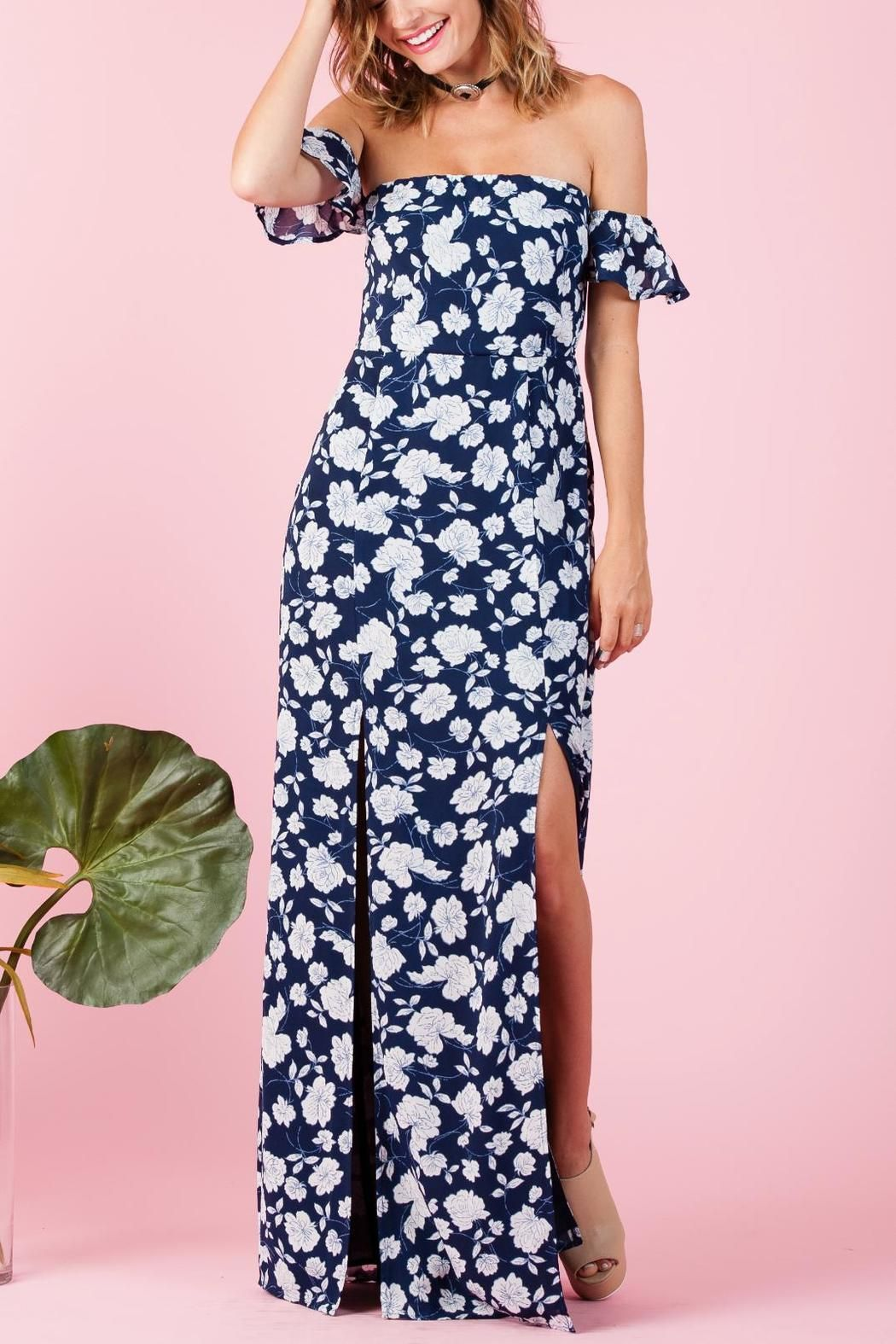 89f4e2712331 Cute floral off shoulder dress with two front slits. Side zipper with  elastic drop down shoulder sleeves. Lines. Wear with cute heels or  platforms and you ...