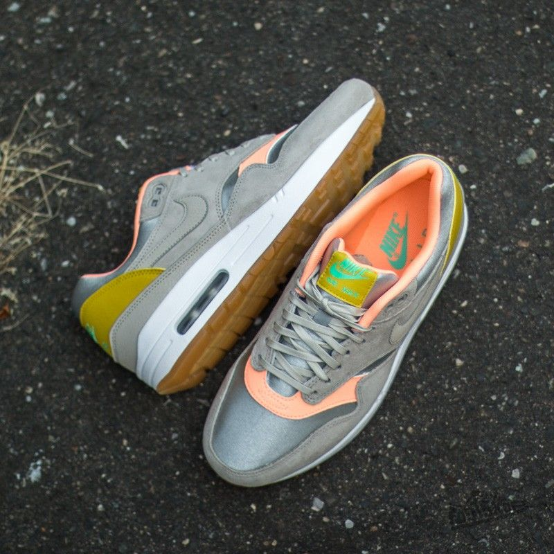 new styles 7ed9d 23f3e ... uk nike wmns air max 1 premium metallic silver strong sunset glow green  ce7db 31c77