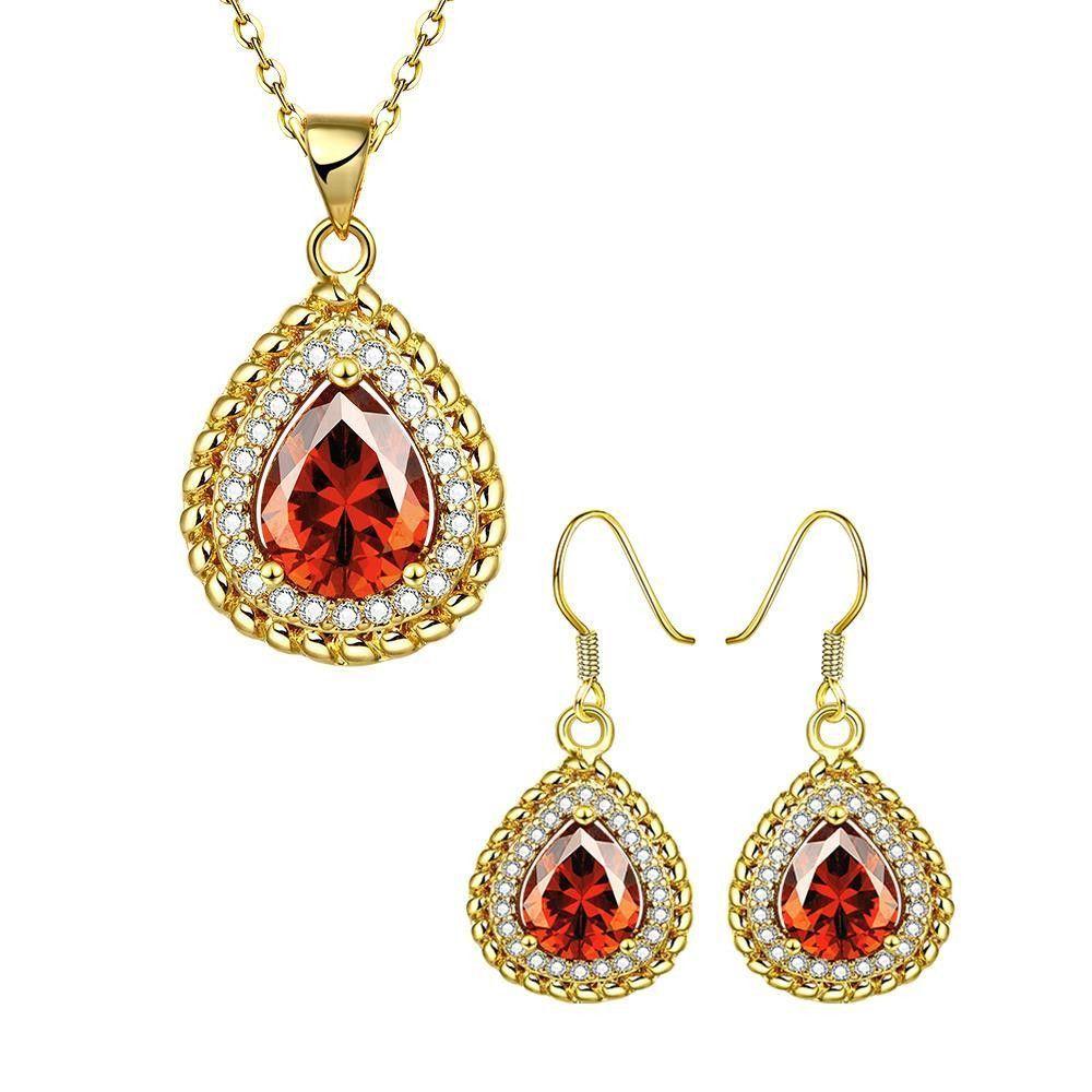 Jewelry Sets Women Bride Jewelry Ruby Rhinestone 18k Gold Plated Necklace Earrings Set Jewelry & Watches