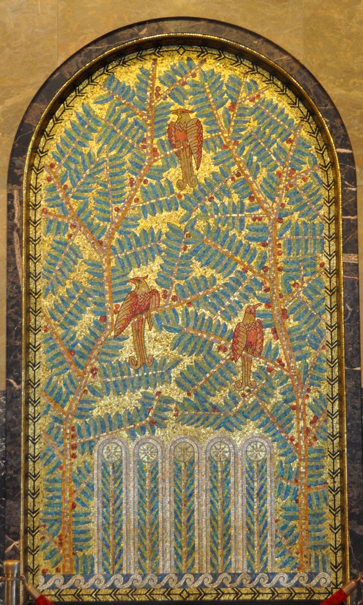 Art Déco - Le 'Fisher Building' - Détroit  - Michigan Albert Kahn - 1928 - Intérieurs - Panneau Mural - Mosaiques