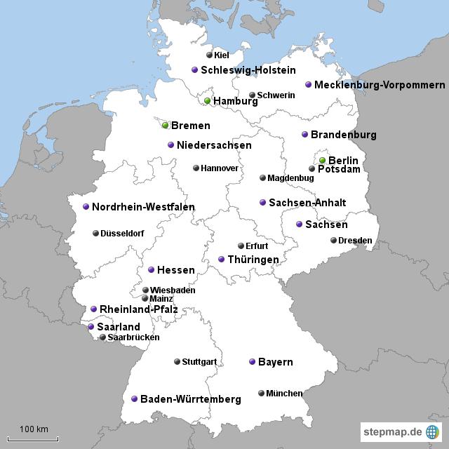 landkarte deutschland bundesländer mit hauptstädten Deutschland, Bundesländer, Hauptstädte | Bundesland, Deutschland