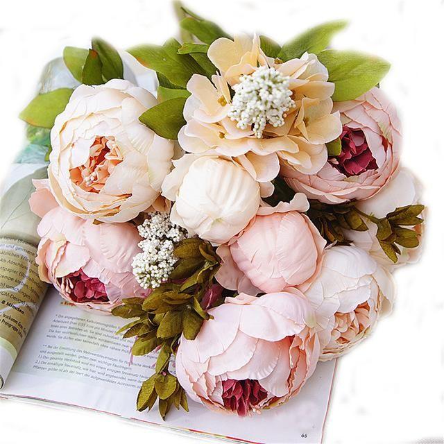 8 Heads/Bouquet Artificial Peony Silk Flowers Bridal Hydrangea Wedding Decor