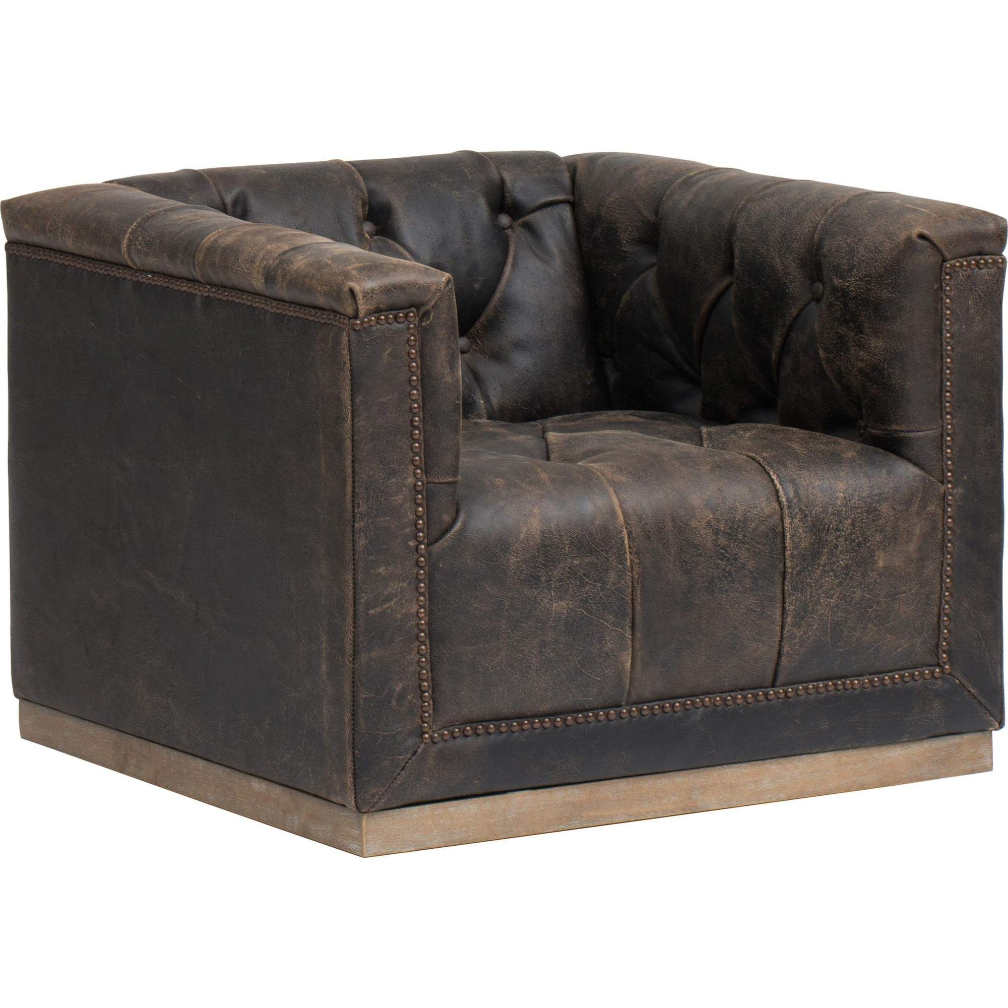 Maxx Leather Swivel Chair, Destroyed Black in 2020