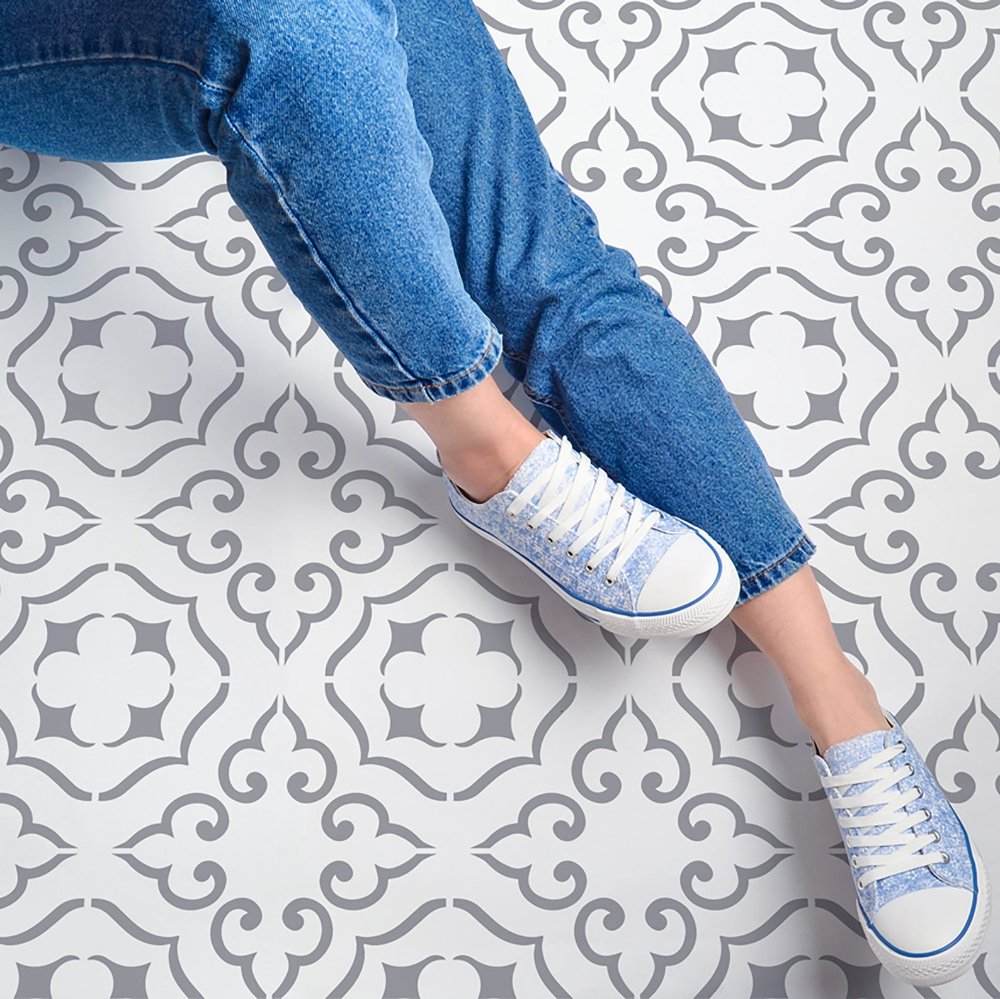 Malaga Tile Stencils 12x12 16x16 Etsy In 2020 Stenciled Floor Tile Stencil Geometric Stencil