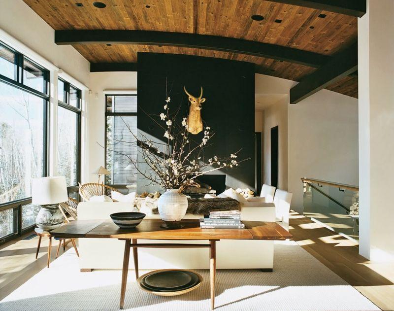 Dekor Decke Wohnzimmer_Hirschgeweih Wohnzimmer Deko Holz Decke Akzentwand  Modern Luxus