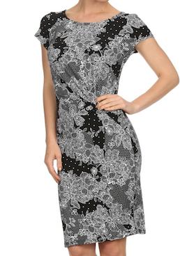 Black Lace Print Dress