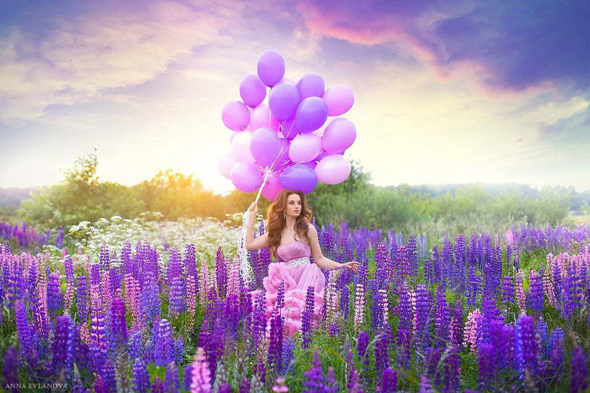 фото лаванда и воздушные шары как
