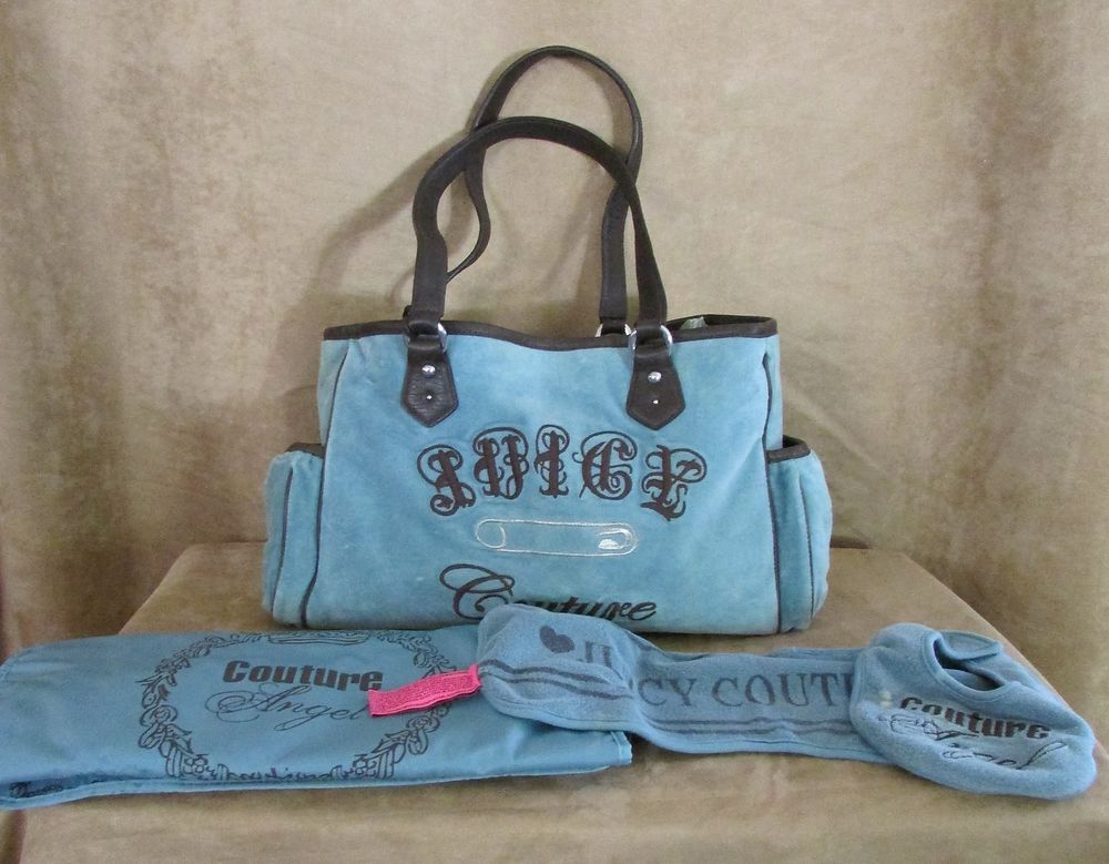 Juicy Couture Blue Velour boy diaper bag   accessories safety pin baby purse   JuicyCouture  TotesShoppers 833b59c413