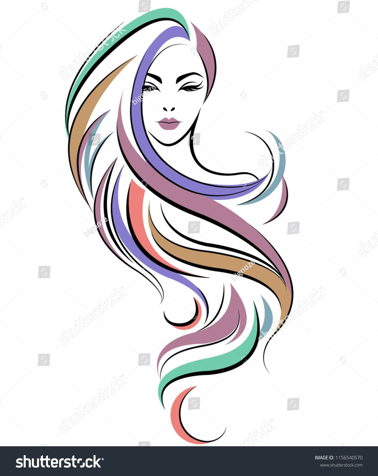 Illustration Of Women Long Hair Style Icon Logo Women Face On White Background Vector Hair Style Long Illustration In 2020 Hair Salon Art Pattern Art Hair Logo
